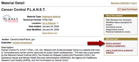 "screenshot of MERLOT Personal Collection page with arrow pointing to ""add personal collection"""